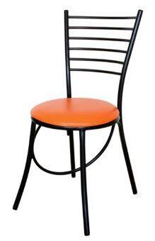 ต้องการขาย Inter Steel เก้าอี้เหล็ก มีพนักพิง รุ่น CH333 โครงดำ - เบาะสีส้ม