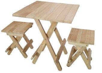 Intrend Design ชุดโต๊ะสนามปิคนิค เก้าอี้2ตัว ขาพับได้ ไม้ยางพารา -สีธรรมชาติ