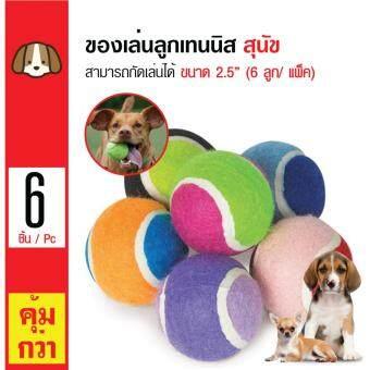 iPet ของเล่นสุนัข ลูกเทนนิส ลูกบอล สำหรับสุนัขทุกสายพันธุ์ ขนาด 2.5 นิ้ว (6 ลูก/ แพ็ค)