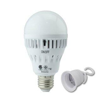 IWACHI Led Emergency หลอดไฟฉุกเฉิน แอลอีดี แสงเดย์ไลท์ 7 วัตต์พร้อมสวิทซ์ ปิด/เปิด ที่ตัวหลอด – แสงเดยไลท์