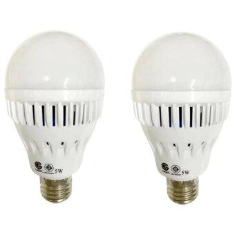 IWACHI LED Emergency หลอดไฟฉุกเฉินLED ติดอัตโนมัติเมื่อไฟดับแสงเดย์ไลท์ 5W (2หลอด)