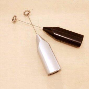 JJ เครื่องปั่นฟองนมไฟฟ้ากาแฟหมุนใช้ frother นม(Black and Silver) - 2