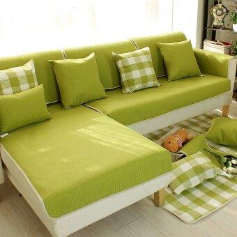 K4 210*90CM Simple Grid Full Dust Cover Sofa Cover Green - intl
