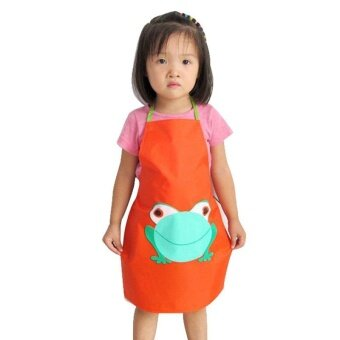 Harga Kids Children Waterproof Frog Print Apron Paint Eat Drink OuterwearOR - intl