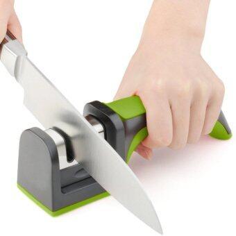 KitchenMarks ที่ลับมีด แบบสองความละเอียดพร้อมด้ามจับถนัดมือ (คละสีแดง เขียว เทา)