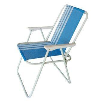 KK_Shop เตียงผ้าใบปิคนิคชายหาด รุ่น เก้าอี้ชายหาด03 ผ้าลายเส้น (สีขาว/ฟ้า )