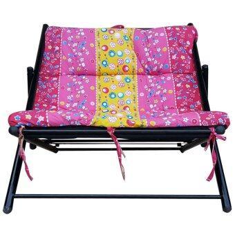 รีวิวพันทิป KK_Shop เตียงนั่งพักผ่อนปรับ 2 ระดับ โครงเหล็กผ้านวมพิมพ์ลาย(สีชมพู)