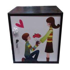 KMP Furnifure ตู้เซฟวินเทจ ตู้เก็บของ ตู้ข้างเตียง ตู้อเนกประสงค์ รุ่น Safe Box1-2 (สีโอ๊ด/ขาว)