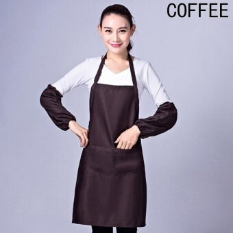 Kuhong Thicken Cotton Polyester Blend Cooking Kitchen RestaurantBib Apron with Pockets - intl