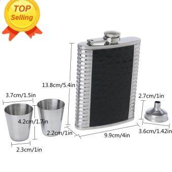 Leegoal Liquor Flask Set Portable With Two Wine Cup And One Pour Funnel,Silver+Black - intl