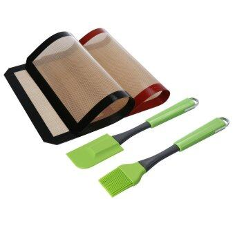 Leegoal Silicone Baking Sheet Mat Mixing Spatula Scraper and Brush Set Cake Cookie Pastry Baking Basting Grill Barbecue ToolsPack of 4 - intl