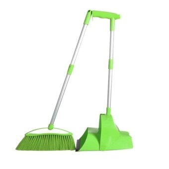 Long Handled Cleaning ToolBroom And Dustpan SetGreen
