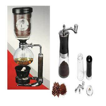 lookgoods เครื่องชงกาแฟสดแบบญี่ปุ่น syphon kettle 3-5 cup และที่บดกาแฟชนิดมือหมุนสีดำขวดแก้วใส