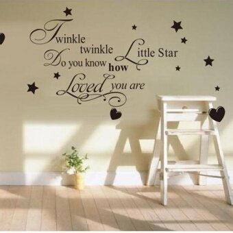 "Lvzhi ""Twinkle Little Star�\\x9D with Cute Stars Love Heart\nWaterproofRemovable PVC Vinly Words Lettering Wall Sticker Home Art\nDecorKids Nursery Room Decal(40*72cm) - Black - intl"