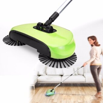 Magic Broom Sweeping Machine Without Electricity Push TypeHousehold Sweeper Dustpan Set Artifact Floor Home Cleaning(Green)