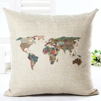 Map Of The World Print Pillow Cases Linen Cotton Sofa Cushion Cover Home Decor - intl