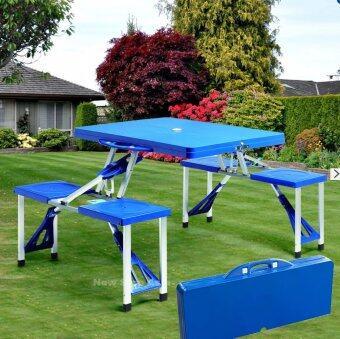 MaxDe ชุดโต๊ะปิคนิคพับได้ 4 ที่นั่ง (สีน้ำเงิน) new step asia โต๊ะ โต๊ะพับ