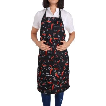 Men Women Apron For Kitchen Cooking Cafe Shop Chef With Pockets(#5 Chilli) - intl