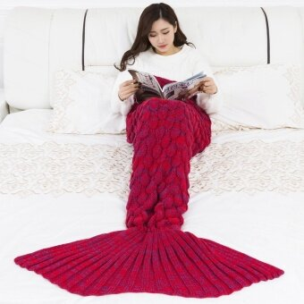 แนะนำ Mermaid Tail Blanket Yarn Knitted Handmade Crochet Mermaid Blanket(Red) – intl