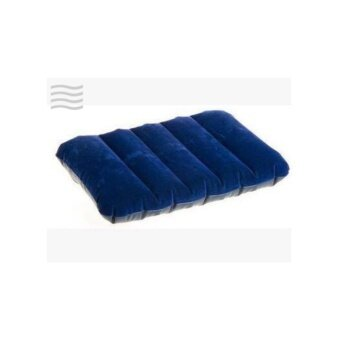 Minlane Travel Navy Inflatable Pillow หมอนเป่าลม กำมะหยี่ สีน้ำเงิน