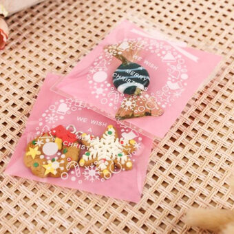 Moonar 100Pcs/set Xmas Ornaments Self Adhesive Christmas CookieBags Cellophane Candy Gift Pouch (Pink)