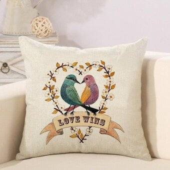 Mordern Creative Bird Pattern Printed Linen Pillowcases Home DecorCar Sofa Cushion Covers - intl