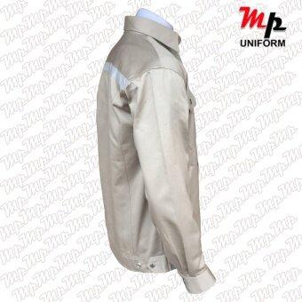MP J003-04 เสื้อช่างผ้าเวสปอยท์ เป็กสาบปิดซ่อน แถบสะท้อนแสงหลังsize M - 5