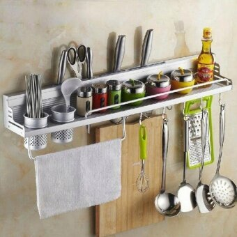 Multifunctional 60cm Space Aluminum Kitchen Wall Mounted StorageRack (have Fence) (Intl) by LuckyG - intl