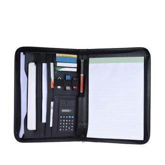 Multifunctional Professional Business Zippered Portfolio Padfolio Folder Document Case Organizer A4 PU Leather with Calculator Business Card Holder Memo Note Pad - intl