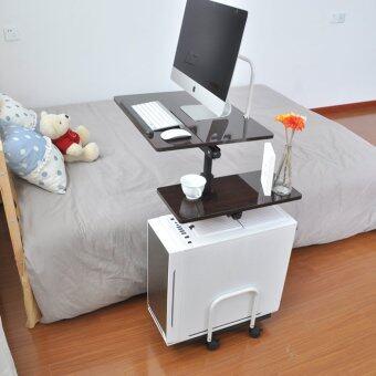 Mylazydesk โต๊ะข้างเตียง โต๊ะทำงาน โต๊ะวางคอม สวยๆ ปรับระดับได้รุ่น 07 ลายไม้เข้ม ขนาด 83x48x70-100 cm.
