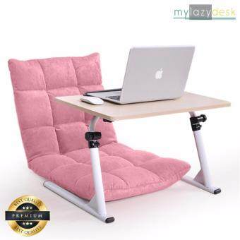 Mylazydesk โต๊ะญี่ปุ่น เก้าอี้ญี่ปุ่น (แพคคู่ รุ่น J01สีไม้อ่อน+H03 สีชมพู)