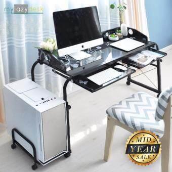 Mylazydesk โต๊ะวางคอม โต๊ะหนังสือ โต๊ะโน๊ตบุ๊ค คร่อมเตียง MLD120 45x 120 x 56-82 cm. (สีดำ)