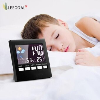 【NDZ】Leegoal LCD Screen Digital Indoor Weather Forecast TemperatureHumidity มอนิเตอร์ Alarm Clock – intl