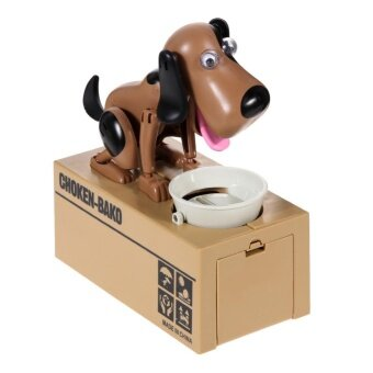 Harga New Cute Stealing Coin Money Box Dog Piggy Bank Storage(Brown/Black) - intl