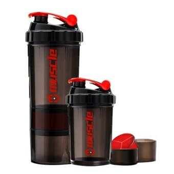 New Protein powder shaker bottle fitness Mixer Sports Fitness gym 3Layers special whey protein shaker milk shaker - intl