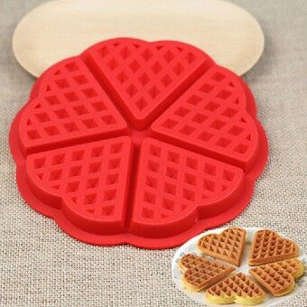 New Style Silicone Waffle Mold Maker Pan Microwave Baking Cookie Cake Muffin Bakeware Kitchen Tools Random Color - intl
