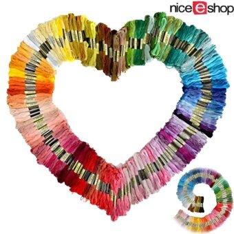niceEshop 8แผ่นผ้าถักด้าย 100 ขดด้ายเย็บด้ายสีต่าง ๆ