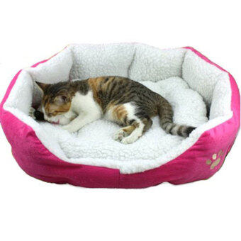 niceEshop Cute Paw Print Comfortable Pets Dog Cats Puppy KittenNest Pad Soft Fleece Bed (L,Roseo)