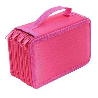 niceEshop Handy Wareable Oxford Pencil Case For Colored Pencils -72 Slot Pencil Holder Hot Pink - intl