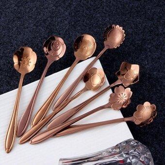 niceEshop Tableware Creative Flower Coffee Spoon,SugarSpoon,Stirring Spoon,Mixing Spoon,Tea Spoon,Rose Gold - intl - 3