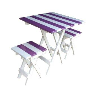 NT ชุดโต๊ะปิ๊กนิคทูโทน เหลี่ยม (สีม่วง/ขาว)