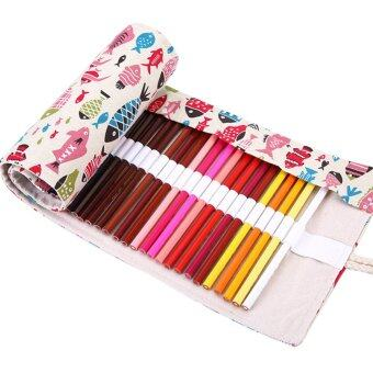 PAlight Cute Fishes Roll Up Canvas Pencil Bag (72 holes White) -Intl