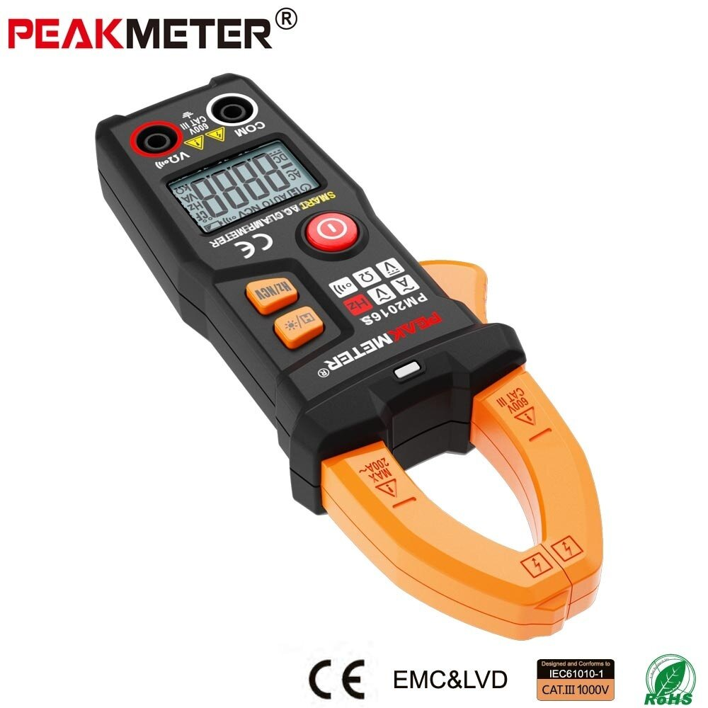 PEAKMETER PM2016S Digital AC Clamp Meter Multimeter with ResistanceFrequency Data Hold NCV Tester - intl .