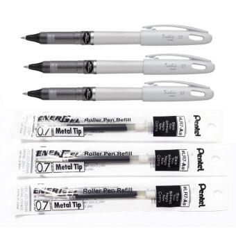 Pentel ปากกาเจล สีดำ รุ่น Tradio ขนาด 0.7มม. 3 ด้ามพร้อมไส้ปากกาสำหรับเปลี่ยน 3 ชุด