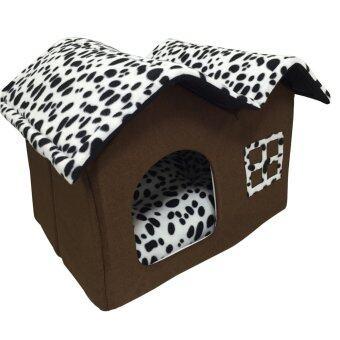 อยากขาย PetInspire บ้านแมว บ้านหมา ที่นอนสัตว์เลี้ยงรูปบ้าน 50x40x35cm.High-end Double Pet House (สีขาวดำลายจุด)
