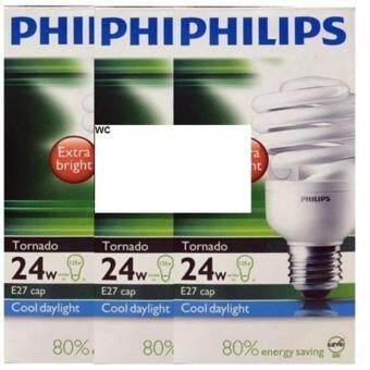 Philips Tornado แพ็คหลอดประหยัด รูปเกลียว 24W E27 แสง DL x 3