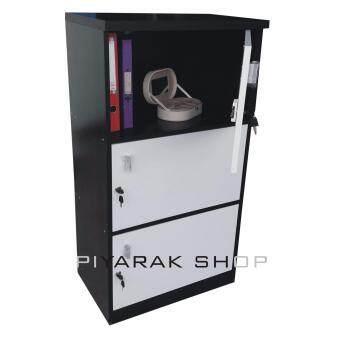 อยากขาย Piyalak Shop ตู้ล๊อกเกอร์ ตู้เก็บของ ชั้นไม้อเนกประสงค์ 1 ช่อง 3ชั้นพร้อมบานมีกุญแจปิดเปิด รุ่น Box-03 (สีลายไม้สีโอ๊ด/ขาว)
