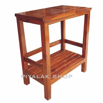 Piyalak shop โต๊ะวางของอเนกประสงค์ ชั้นไม้วางขของอเนกประสงค์ ไม้สักทอง 100 % แบบ 2 ชั้น สี่เหลื่ยม (สีไม้สักทอง)