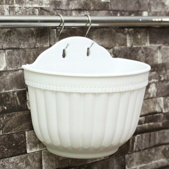 Plastic Flower Pots Hanging Garden Basket Plant Planter Home Decor Balcony White - intl