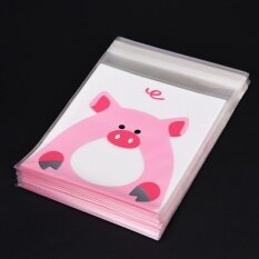 Pop 100PCS Cute Animals Candy Cake Packaging Bags Self-adhesive Gifts Bags Party Pig 10cm*10cm+3cm - intl